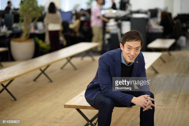 Chikahiro Terada cofounder and chief executive officer of Sansan Inc poses for a photograph in Tokyo Japan on Monday Jan 29 2018 Tokyobased startup...