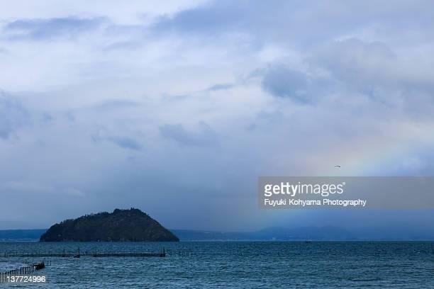 Chikubu Island with rainbow