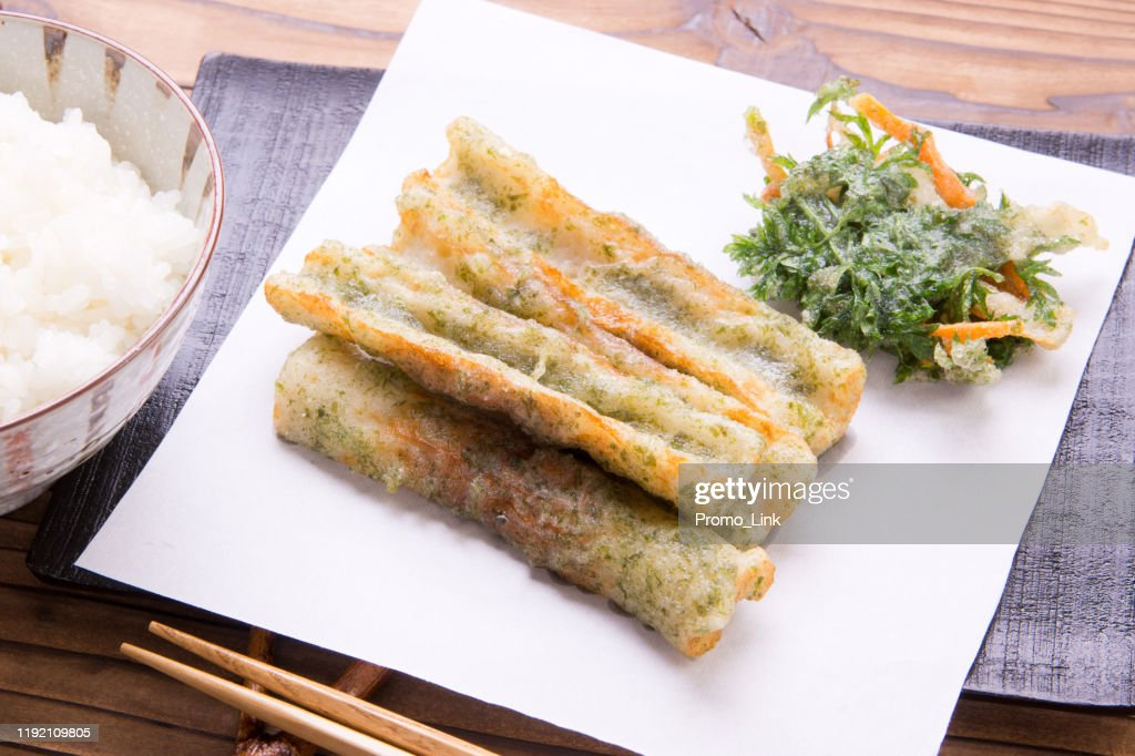 Chikuwa fried and kakiage : Stock Photo