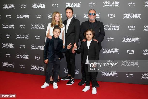 Child actor Vincent Hagn and Franz Hagn and their famaily attend the premiere of the second season of 'You are wanted' at Filmtheater am...