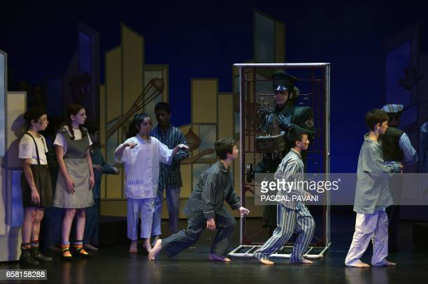 Child actors perform Hans Krasa's opera 'Brundibar' during a rehearsal on March 24 2017 at the JulesJulien theatre in Toulouse The opera by Jewish...