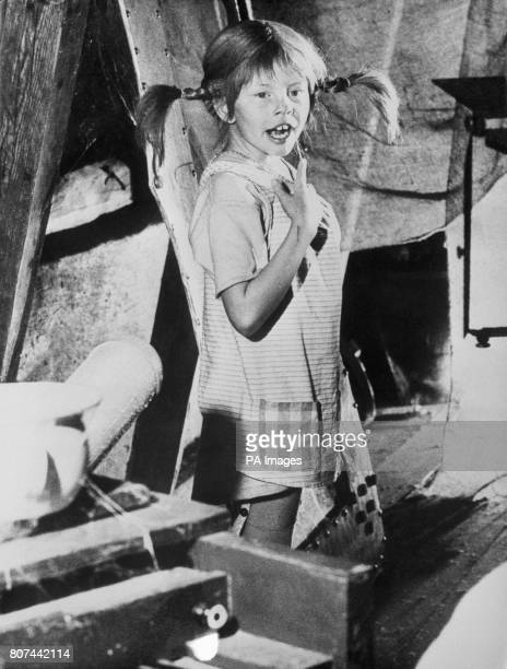 Child actress Inger Nilsson who has been chosen by Swedish film director Olle Hellbom to portray 'Pippi Longstocking' in a film based on the stories...