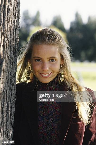 Child actress Olivia d'Abo from the TV show The Wonder Years poses during a 1988 photo portrait session in Los Angeles California D'Abo played Karen...