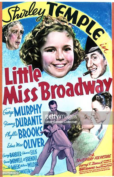 Child actress Shirley Temple as orphan Betsy Brown on a poster for the 20th Century Fox musical drama 'Little Miss Broadway' directed by Irving...