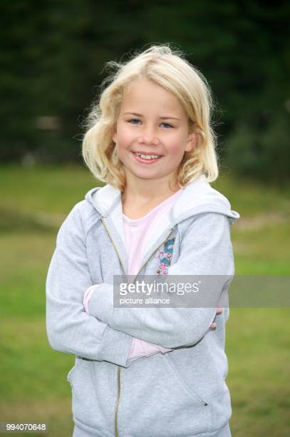 Child actress Sofia Stemmer photographed during a break of the shooting of the 6th episode of the 'BozenKrimi' TVcrime series titled 'Leichte Beute'...