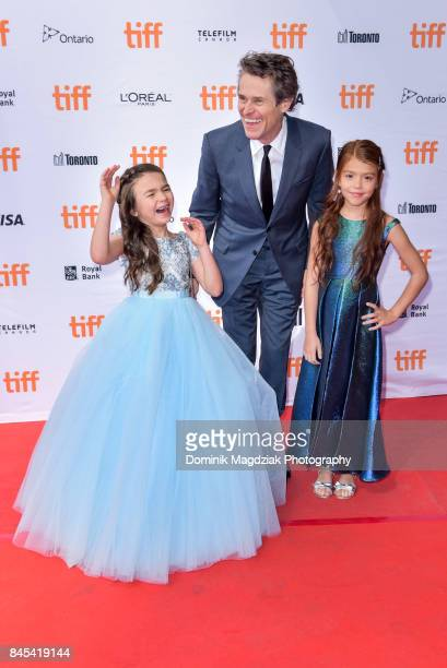 Child actresses Brooklynn Prince Valeria Cotto and actor Willem Dafoe attend the 'The Florida Project' premiere at the Ryerson Theatre on September...