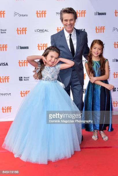 Child actresses Brooklynn Prince Valeria Cotto and actor Willem Dafoe attend the The Florida Project premiere at the Ryerson Theatre on September 10...