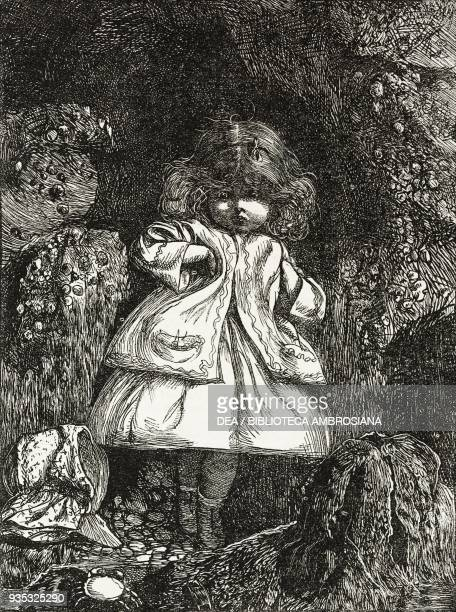 Child among rocks from Home thoughts illustration from the Christmas supplement of the magazine The Illustrated London News volume XLV December 24...