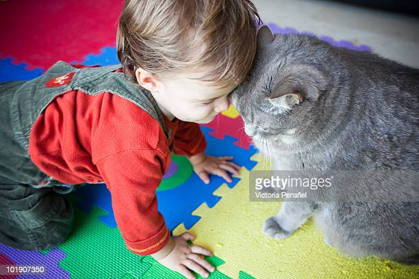 Child and cat head to head