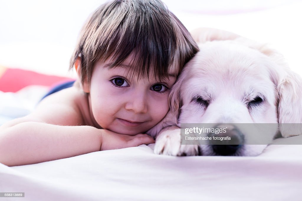 Child and dog : Stock Photo