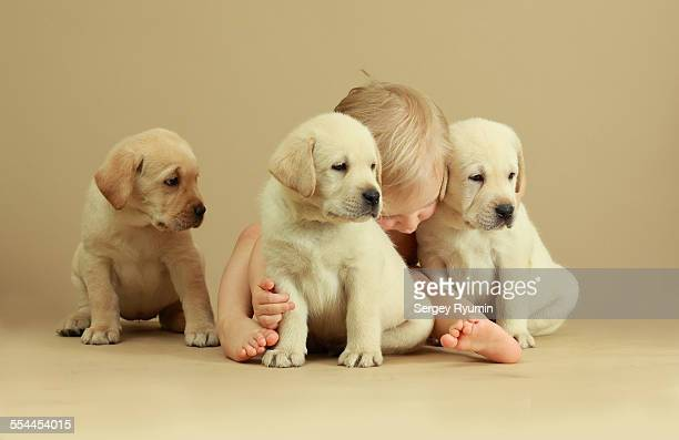 Child and puppies