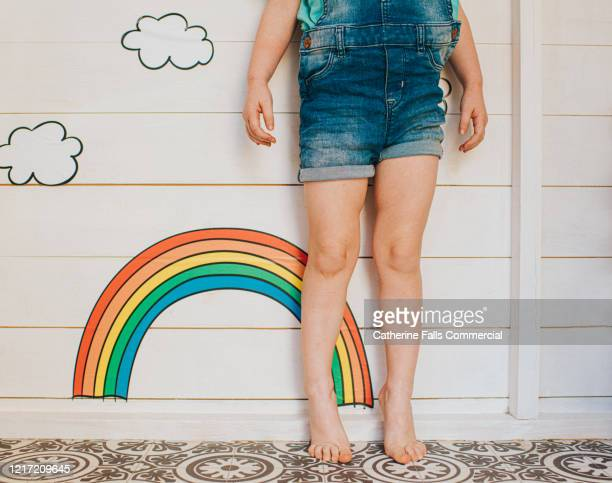 child beside a rainbow - religious equipment stock pictures, royalty-free photos & images