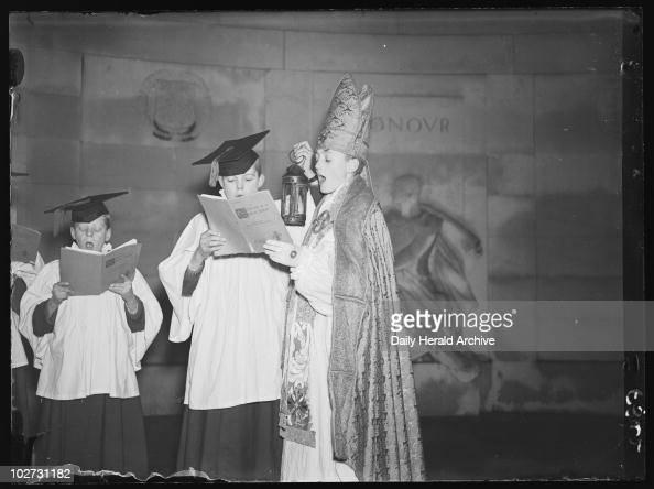 A child bishop and choir sing Christmas carols, 1936