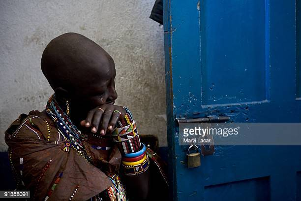 Child Bride Seleyian Sekut cries hysterically inside the police headquarters on December 5 2007 in Narok Kenya The confused Seleyian responded to the...