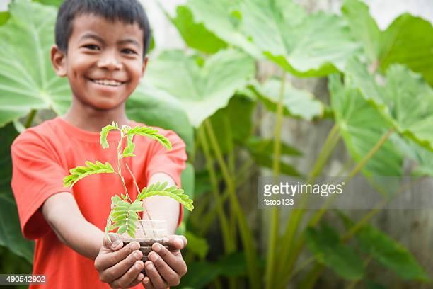 Niño preocupaciones por planta de esperanza. La jardinería. Conservación del medio ambiente.