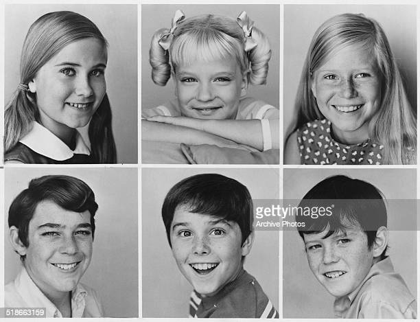 Child cast members of the US TV sitcom 'The Brady Bunch' September 1969 Top Maureen McCormick Susan Olsen and Eve Plumb Bottom Barry Williams...