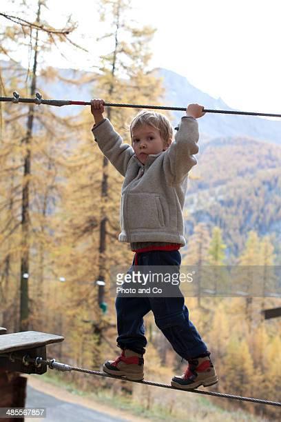 child climbing in Adventure park in woods