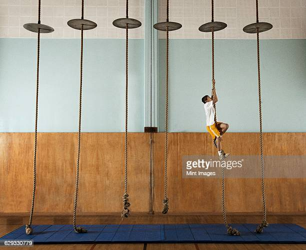 A child climbing up a rope in a school gym.