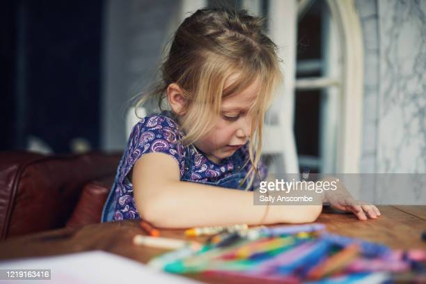 child colouring in a picture - preschool stock pictures, royalty-free photos & images