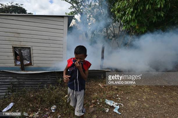 TOPSHOT A child covers his nose as employees of the Permanent Contingency Committee fumigate his home during an operation to combat Aedes aegypti...
