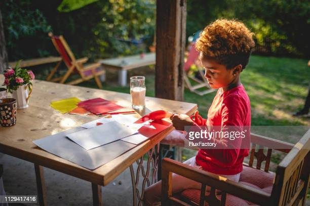 child doing a art project at home - craft stock pictures, royalty-free photos & images