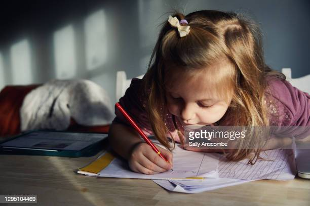 child doing school work at home - sally anscombe stock pictures, royalty-free photos & images