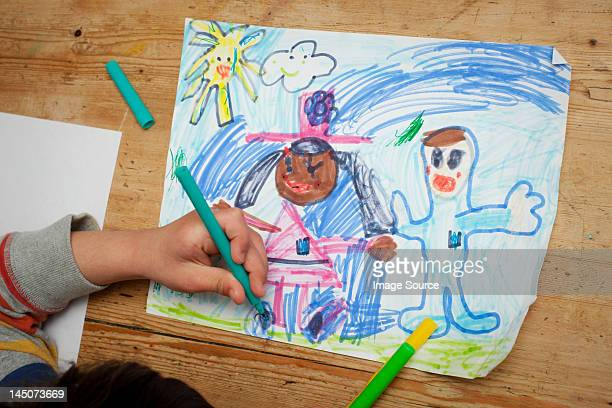 child drawing a picture - colouring stock pictures, royalty-free photos & images