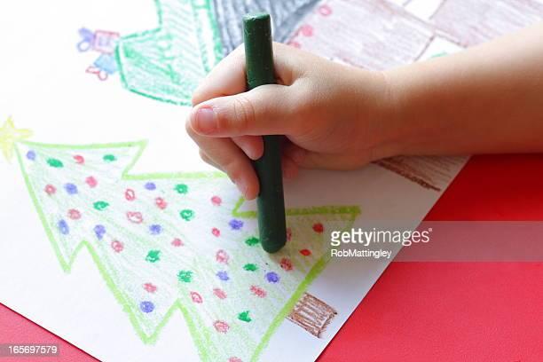 Niño dibujo Navidad imagen