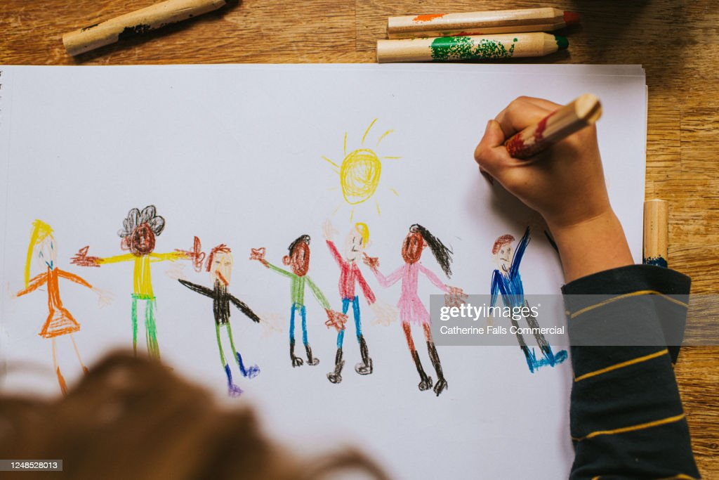 Child drawing Figures : Stock Photo
