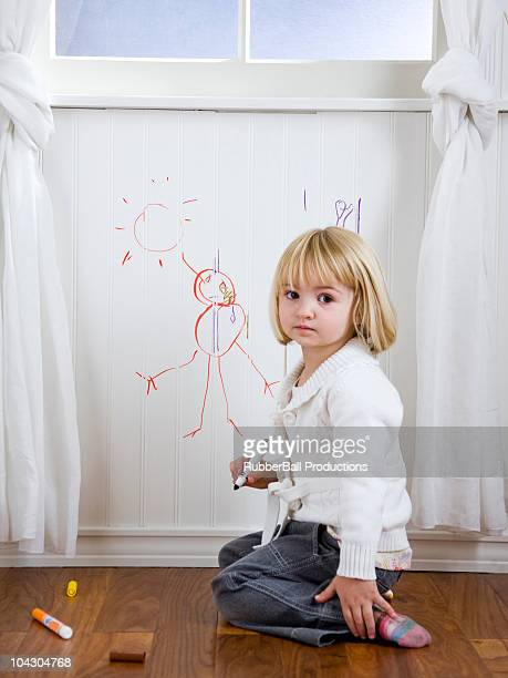 child drawing on the wall - colouring stock pictures, royalty-free photos & images