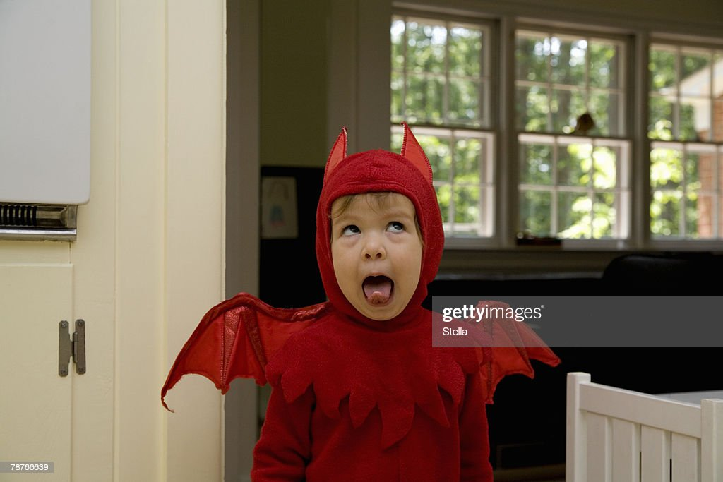 A child dressed as a devil : Stock Photo