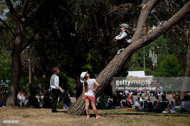 A child dressed as 'Chulapo' climbs a tree during the San Isidro festivities at Pradera de San Isidro park on May 15 2014 in Madrid Spain During the...