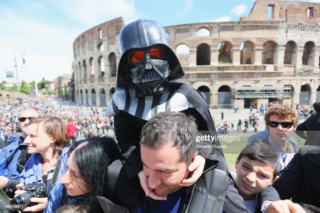 A child dressed as Darth Vader during the Star Wars Day 2014 at Colloseo on May 4, 2014 in Rome, Italy.