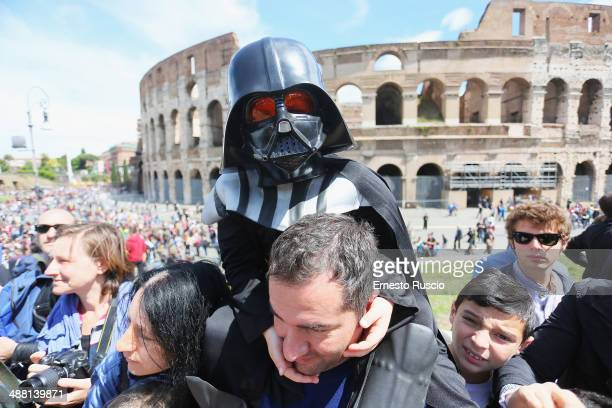 A child dressed as Darth Vader during the Star Wars Day 2014 at Colloseo on May 4 2014 in Rome Italy