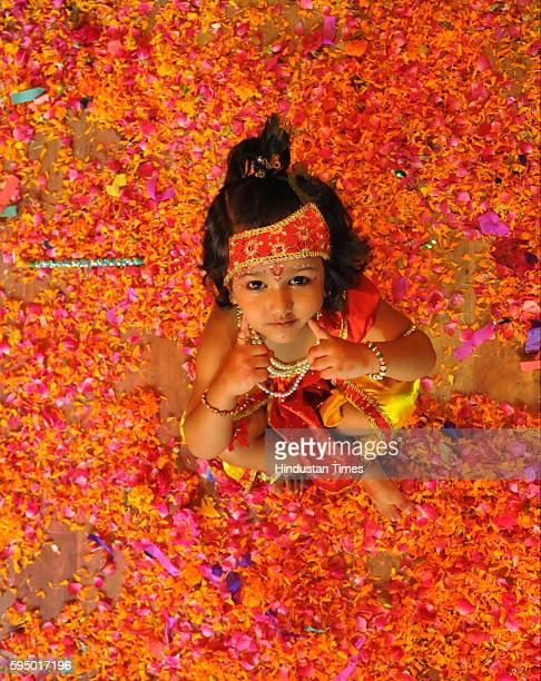 A child dressed as Lord Krishna during the Janmashtami celebrations on August 24 2016 in Jalandhar India