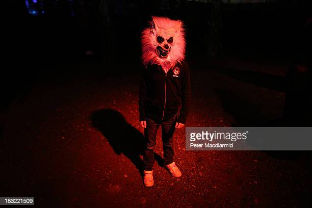 A child dresses as a werewolf at the Shocktober Fest at Tulleys Farm on October 5 2013 near Crawley West Sussex Each October thousands attend the...