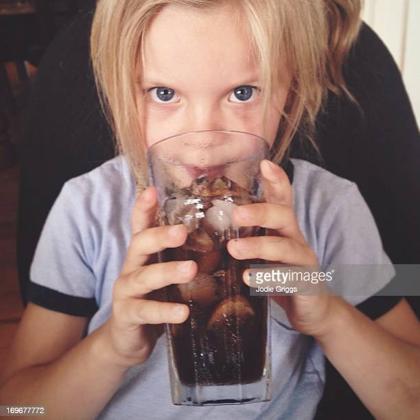 Child drinking fizzy drink