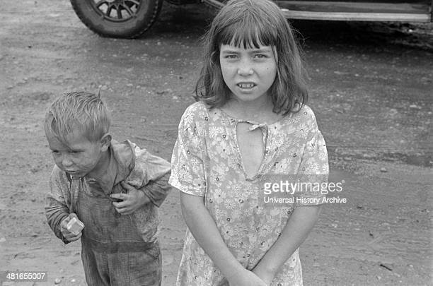 Child dwellers in Circleville's Hooverville central Ohio 1938