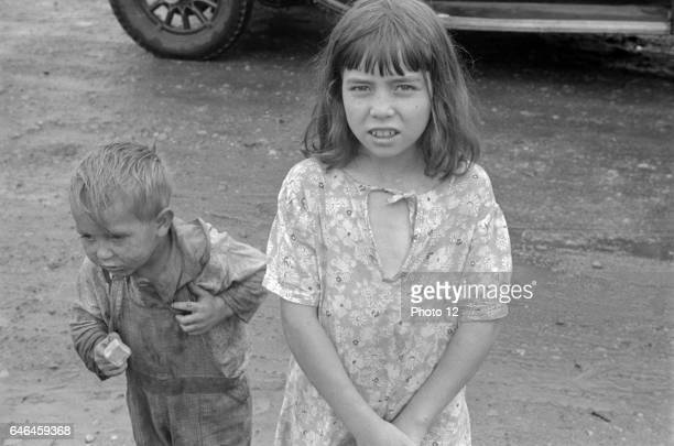 Child dwellers in Circleville's 'Hooverville' central Ohio 1938