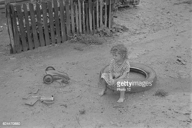 child dwellers in Circleville's 'Hooverville' central Ohio 1938 Summer