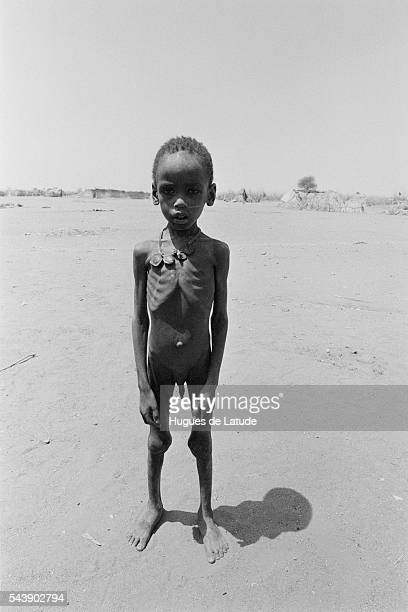 Child famine victim refugee in a refugee camp in Darfur Sudan