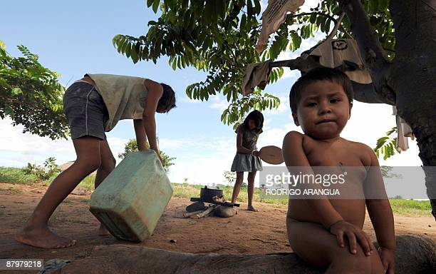 Child from a family of displaced natives of the Guayabero ethnic group May 23, 2009 at El Barrancon, near San Jose del Guaviare, southeastern...