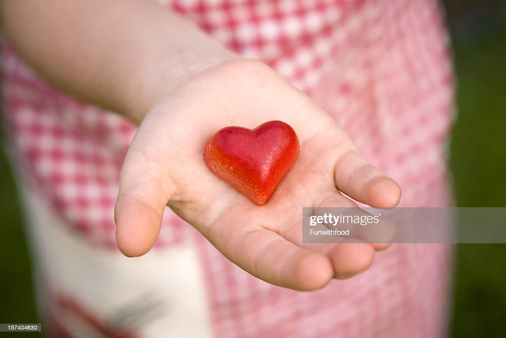 Child Giving Heart Valentines Day Food Hand Holding Chocolate ...
