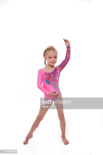 child gymnast series - little girls leotards stock photos and pictures