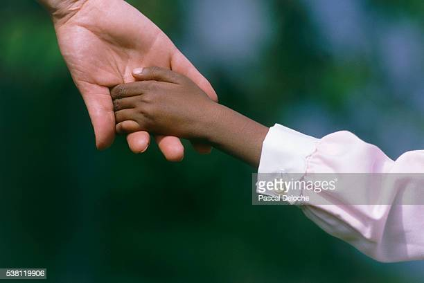 child holding adult's hand - adoptie stockfoto's en -beelden