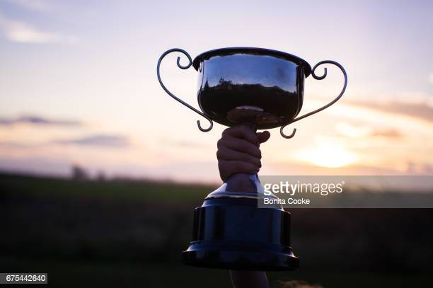 Child holding up school trophy, cup awarded