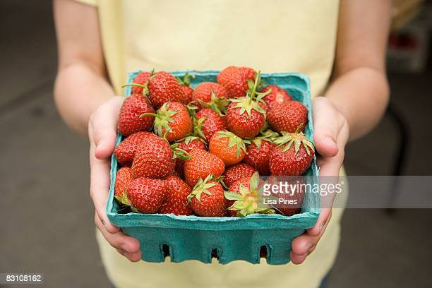 Child holds basket of strawberries