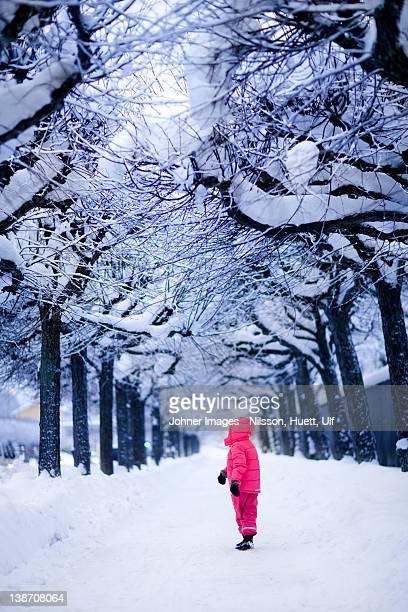 child in snowy park - sneeuwkap stockfoto's en -beelden
