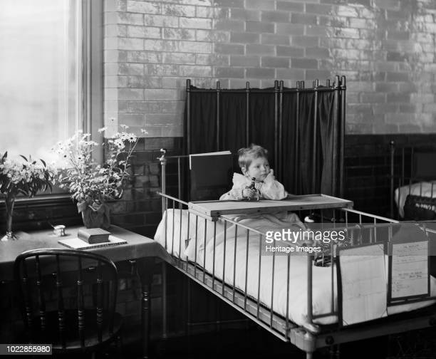 Child in the Hospital for Sick Children Great Ormond Street London 1893 A young patient in bed on the Clarence Ward The Hospital for Sick Children...