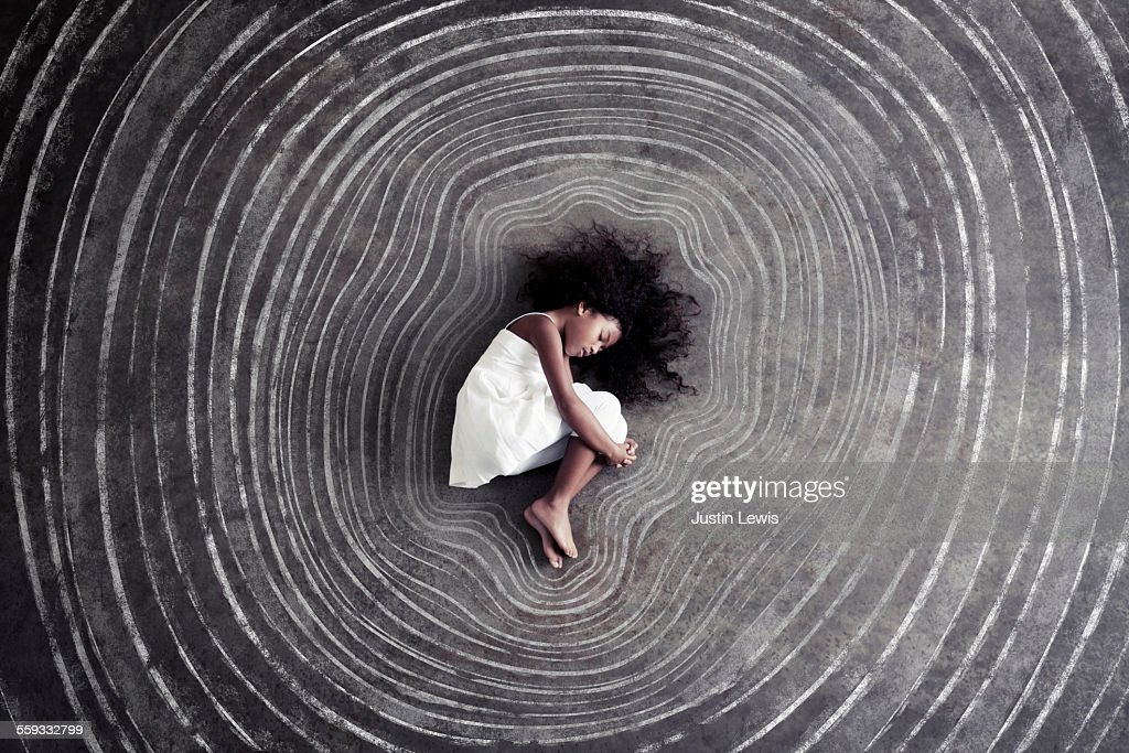 Child Inside Tree Growth Rings : Stock Photo